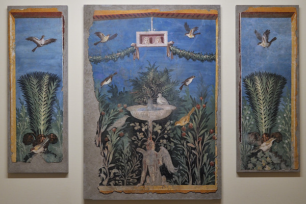 Roman fresco panels depicting a garden, 1st c. AD