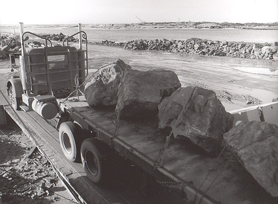 Contractors repaired the jetties with rock brought by truck, not by rail as with original construction.