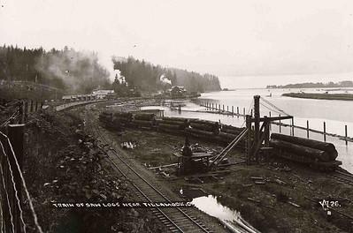 Rail cars brought logs to the mill at Wheeler and to mills at Brighton, Garibaldi and Tillamook.