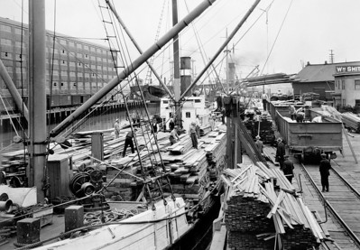 Lumber steamers from the northwest crowded the docks in San Francisco.