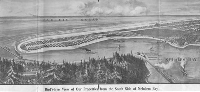 Real estate developers knew trains from Portland would bring people and profits to Tillamook County. When they learned in 1905 about plans for tracks, they began platting lots along the ocean from Neahkahnie near Nehalem Bay to Bayocean on Tillamook Bay.