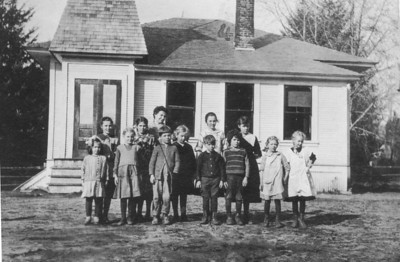 Pine Grove school, probably in the 1920s. The Pine Grove school served children in Manzanita until it closed in the late 1950s when it joined today's district 56.