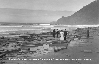In 1914 the steam schooner Leggett floundered at sea while carrying lumber from Grays Harbor to San Francisco. Nobody found weckage of the vessel, but locals harvested thousands of timbers off the beach.