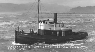 In 1912 the Vosberg struck a rock while trying to cross the Nehalem bar and grounded on the south spit. The steamer owned by the Wheeler Lumber Company was a total loss.