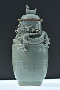 Funerary jar with dragon and bird, China, Zhejiang province, Longquan kilns, Southern Song dynasty, 12th c.