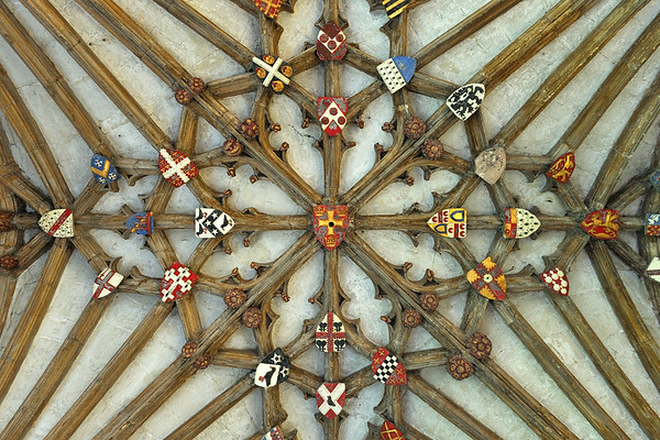 Cloister vaulted ceiling with coats of arms