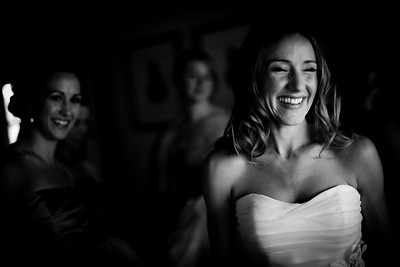 Black & white photo of Bride Smiling