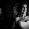 Black & white photo of Bride Smiling