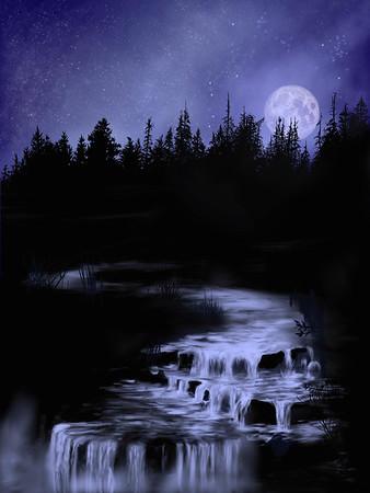Moonrise over Stream