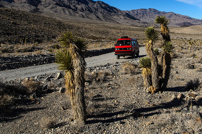 A Westfalia camper makes it up the Racetrack Playa road in Death Valley, California.
