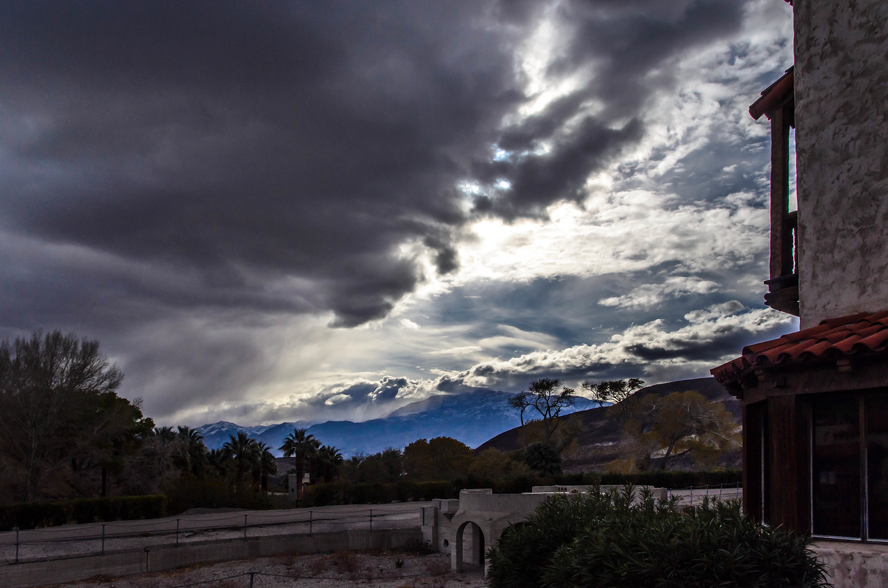 A storm at Scotty's Castle, Death Valley, California.