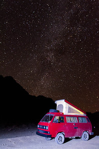 A Westfalia set up under the Mily Way, Racetrack Playa, Death Valley, California.