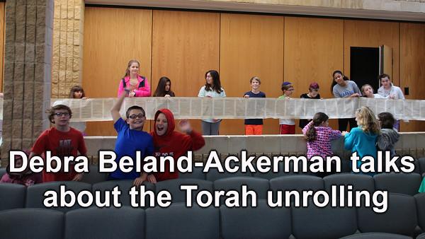 Principal Debra Beland-Ackerman talks about the Torah unrolling