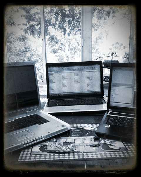 Working on church camp stuff....cause I'm cool enough to use 3 laptops simultaneously!