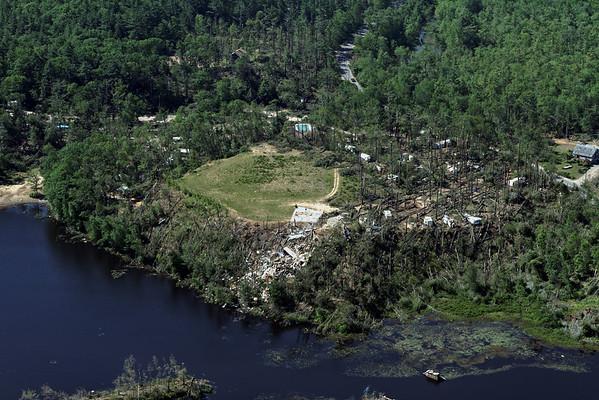 Aerial photo taken 6/7/2011, Brimfield, MA tornado  - Quinebaug Cove Campground.