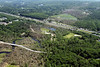 Aerial photo taken 6/7/2011, Sturbridge, MA tornado - Looking east, across Rte 84 to Willard Rd in the distance.
