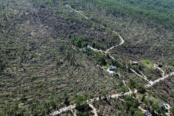 Aerial photo taken 6/7/2011, Brimfield, MA tornado  - Looking west, tree fall pattern.