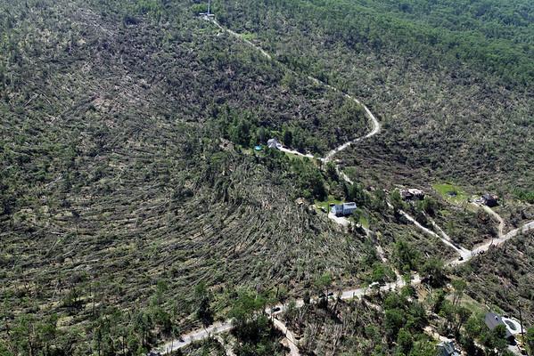 Aerial photo taken 6/7/2011, Brimfield, MA tornado  - Looking west, tree fall pattern.