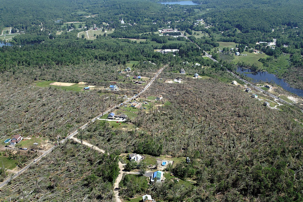 Aerial photo taken 6/7/2011, Brimfield, MA tornado  - Looking northeast, Haynes Hill Rd area.