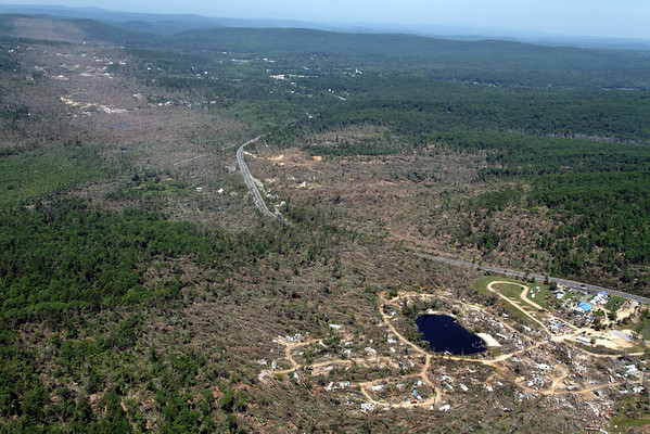 Aerial photo taken 6/7/2011, Brimfield, MA tornado  - Looking northwest, Rte 20 and Village Green Family Campground