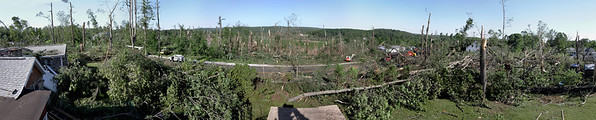 Willard Rd, Sturbridge, MA the morning after - panorama looking west out over the tornado track.