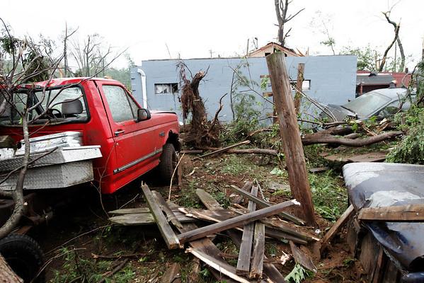 Sturbridge Auto Body - Rte 131, Sturbridge, MA right after the tornado went through.