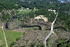 Aerial photo taken 6/7/2011, Sturbridge, MA tornado - Looking north across the track to Old Sturbridge Village.