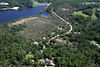 Aerial photo taken 6/7/2011, Sturbridge, MA tornado - Looking east, Streeter Rd, Brimfield Reservoir.