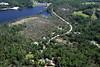 Aerial photo taken 6/7/2011, Sturbridge, MA tornado - Looking east, Streeter Rd, Brimfield Reservoir.