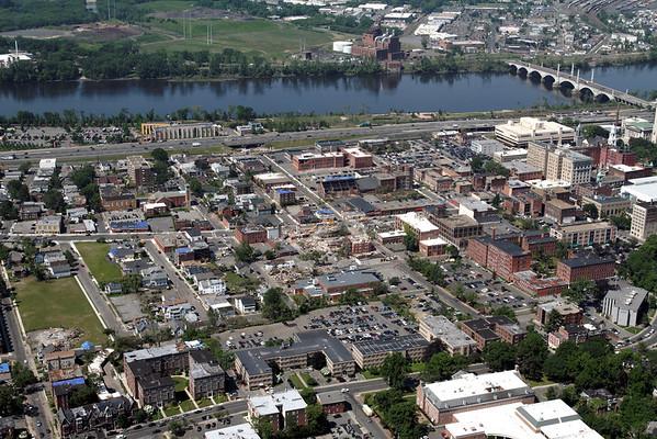 Aerial photo taken 6/7/2011, Springfield, MA tornado very near where it formed.