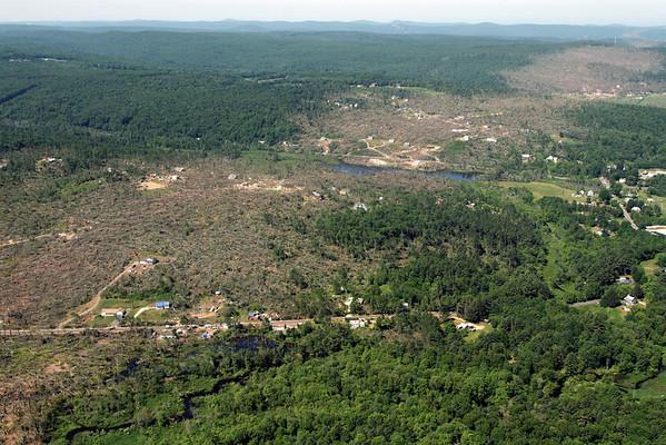 Aerial photo taken 6/7/2011, Brimfield, MA tornado  - Looking west.