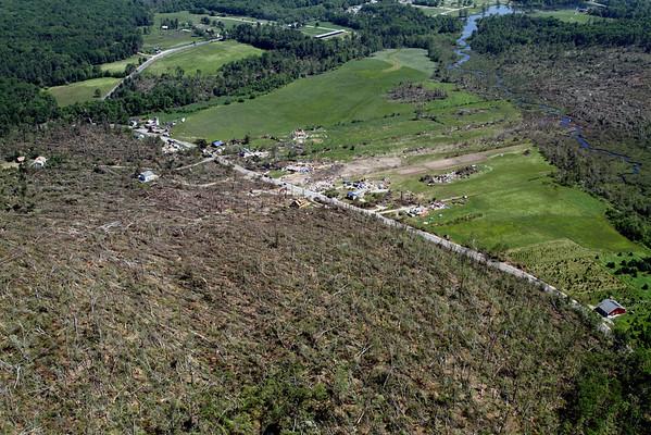 Aerial photo taken 6/7/2011, Brimfield, MA tornado  - Looking east, Hollow Rd area.