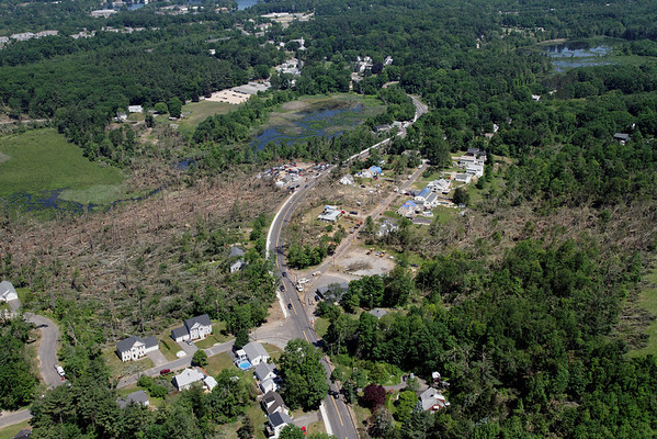Aerial photo taken 6/7/2011, Sturbridge, MA tornado - Looking north towards Willard Rd.