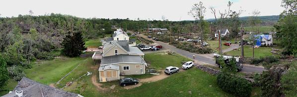 Willard Rd, Sturbridge, MA panorama of the damaged houses.