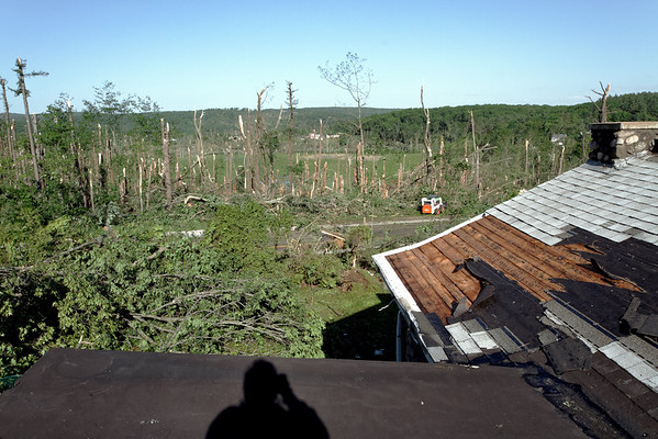 Willard Rd, Sturbridge, MA the morning after - view to the west looking out over the tornado track.