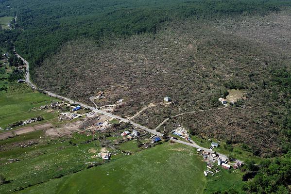 Aerial photo taken 6/7/2011, Brimfield, MA tornado  - Looking west, Hollow Rd area.