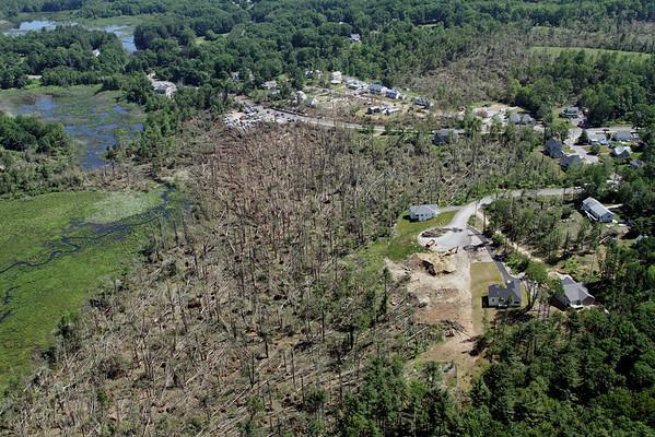 Aerial photo taken 6/7/2011, Sturbridge, MA tornado - Looking east towards Willard Rd area.