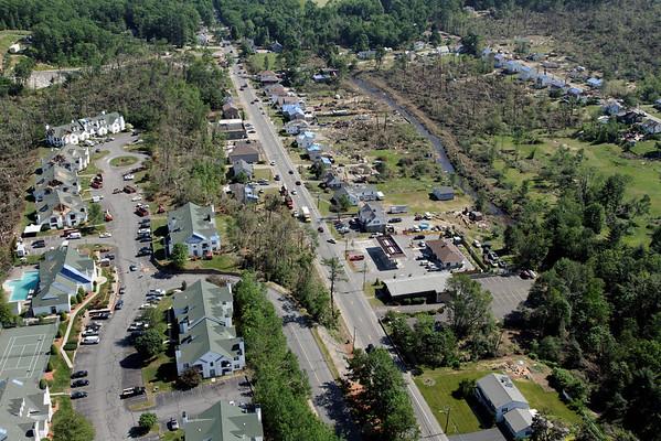 Aerial photo taken 6/7/2011, Southbridge, MA tornado - Rte 169 looking north