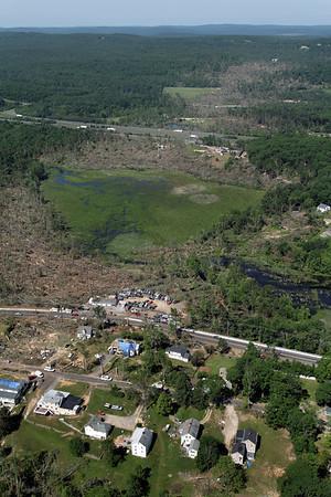 Aerial photo taken 6/7/2011, Sturbridge, MA tornado - Looking west, Willard Rd area.