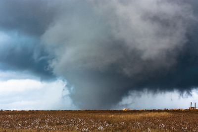 A wedge tornado touches down at sunset near Fort Cobb, OK, on November 7, 2011.