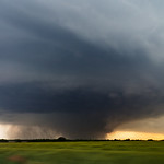 A large tornado dances in a field due west of Bennington Kansas for about 45 minutes. We were afraid the town would take a direct hit, but the tornado remained stationary for it's entire lif ...
