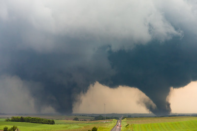 Twin tornadoes ravage the area near Pilger, NE, on June 16, 2014. Both tornadoes were rated EF-4, and unfortunately one resulted in fatalities.