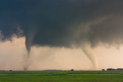 Twin tornadoes ravage open fields west of Cherokee, OK, during the major tornado outbreak of April 14, 2012.