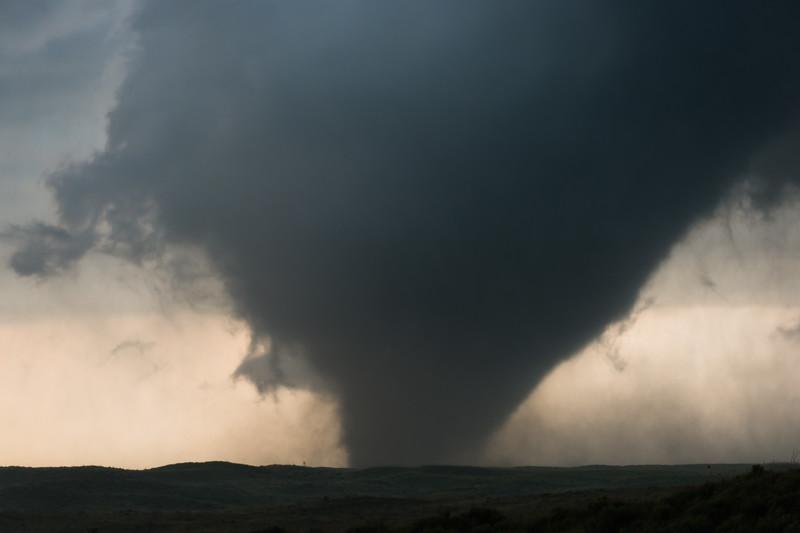 A wedge tornado churns across open rangeland near Canadian, TX, on May 27, 2015.
