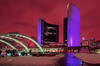 Toronto, City Hall and rink arches at night