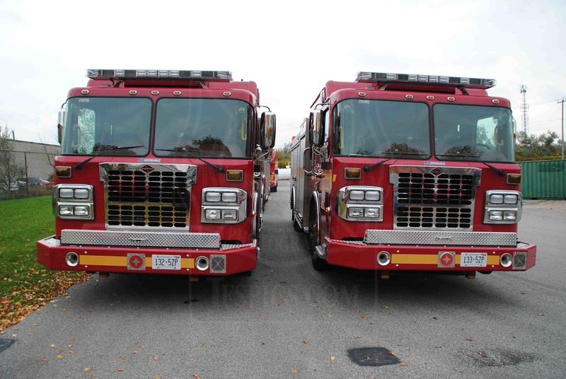 2010 Crimson pumpers prior to entering service.<br /> <br /> Photo by Larry Thorne