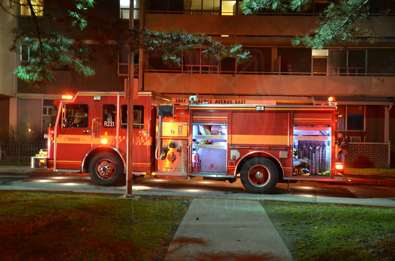 R231 at a 1st alarm fire @ 3847 Lawrence Ave. E.<br /> <br /> Photo by Larry Thorne