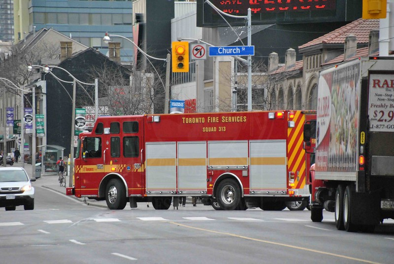 Squad 313 responding.<br /> <br /> Photo by Larry Thorne
