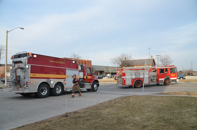 Tanker 211 and Pumper 211 (with a spare rig, ex P424), return to quarters from a grass fire along the CNR right-of-way at Plug Hat Rd., March 7, 2012.<br /> <br /> Photo by Larry Thorne