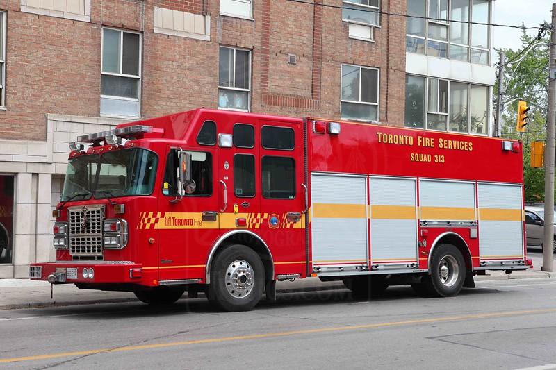 Squad 313 at an elevator rescue on Shuter St.<br /> <br /> Photo by Kevin Hardinge